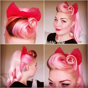 Diablo Rose Pink hair victory rolls pin up rockabilly lilac ponytail hair inspiration make up le keux barrel rolls 2