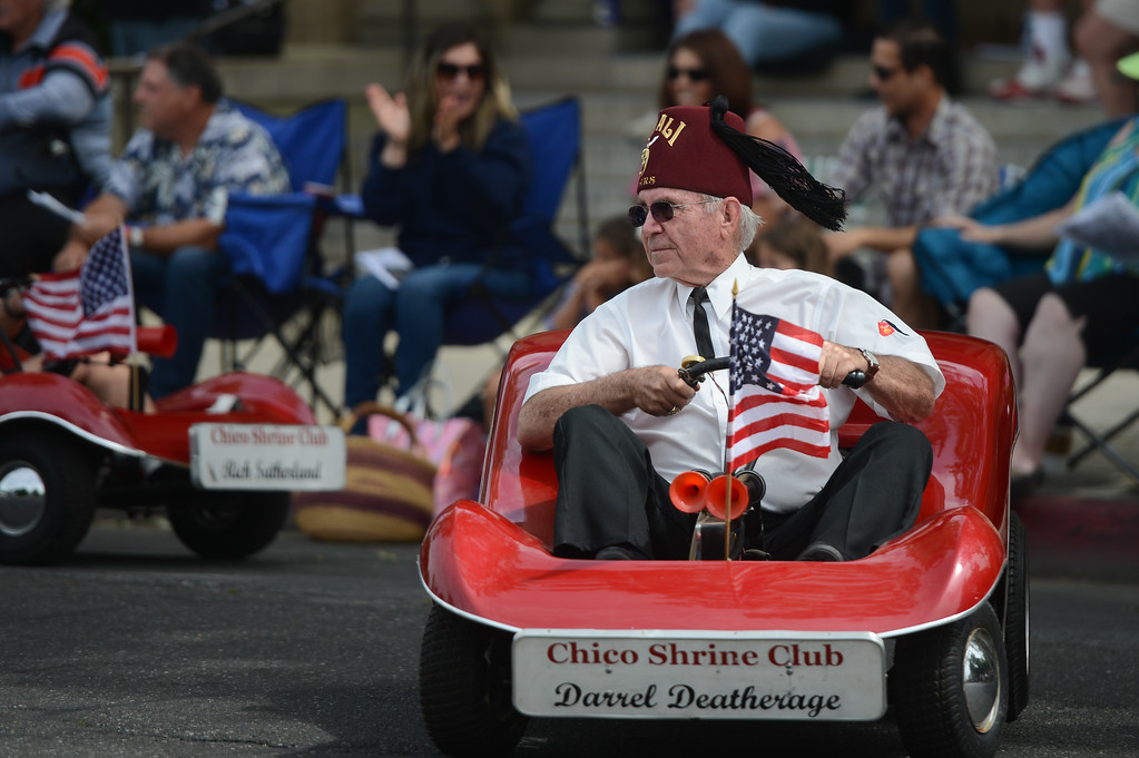 . Darrel Deatherage of Chico Shrine Club rides his go cart during the Pioneer Day Parade, May 5, 2018,  in Chico, California. (Carin Dorghalli -- Enterprise-Record)
