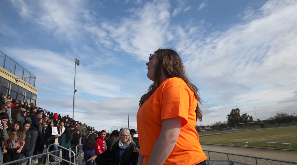 ". CINTIA LOPEZ - DAILY DEMOCRAT Walkout organizer, and student at Pioneer High School, Tara Keeble stands in front of her peers and talks about the reason for the walkout: ""to make a change.\"""