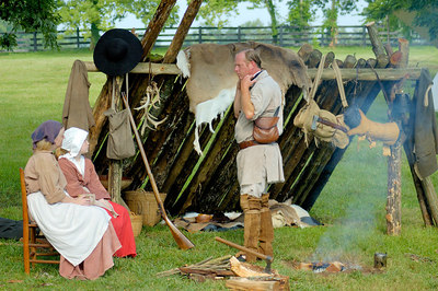 Stock image of the pioneer reenactment of the settlement of Boone's Station in Kentucky by Daniel Boone and his familty in 1779.