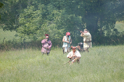 Stock image of the battle of Blue Licks in Kentucky USA.  On August 19, 1782, nearly seventy Kentuckians died in an ambush in what has been called the last battle of the American Revolution. It was a conflict between the American Indian, Kentucky settlers, and the British Crown and is considered one of the worst American military defeats of the Revolutionary War..