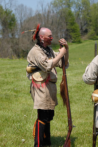 Stock image of re-enactment of the Ruddle's Station Massacre in Kentucky USA.  In 1780, during the Revolutionary War, British and Indian troops attacked the station in present-day Harrison County. Twenty settlers were killed; survivors were marched to Detroit and held for the rest of the war.