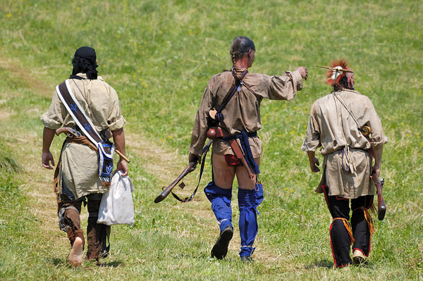 Stock image of American Indian re-enactors at the  re-enactment of the Ruddle's Station Massacre in Kentucky USA.  In 1780, during the Revolutionary War, British and Indian troops attacked the station in present-day Harrison County. Twenty settlers were killed; survivors were marched to Detroit and held for the rest of the war.
