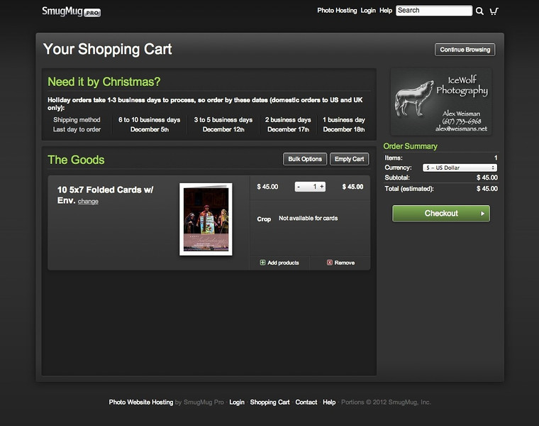 • This is what cards will look like in your cart
