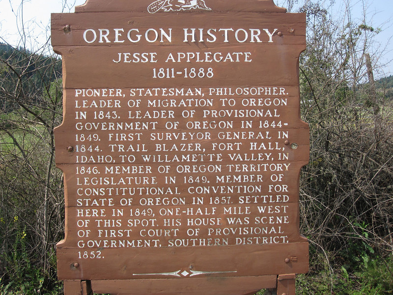 Jesse Applegate, along with his brothers, was an early and important settler of this part of the Willamette Valley.  A southern branch of the Oregon Trail was named the Applegate Trail.  The Applegates were seeking a safer route after some of their family members were drowned in the Columbia River.  You see the Applegate name everywhere in this part of the state.