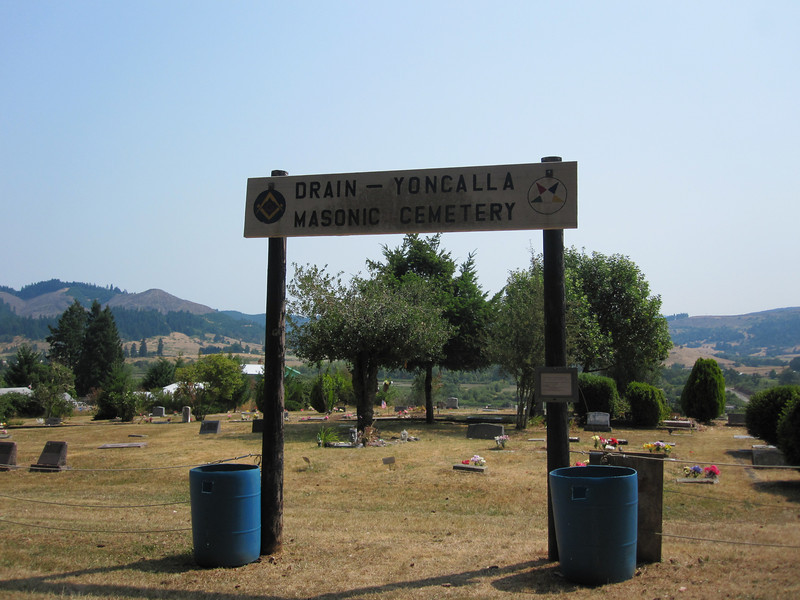 If you turn directly around from looking at the sign for the Applegate Pioneer Cemetery, you see the Drain-Yoncalla Masonic Cemetery.  The two cemeteries share a parking lot (and an amazing view).  We did not walk through the Masonic Cemetery at all.  It appears to be much newer.