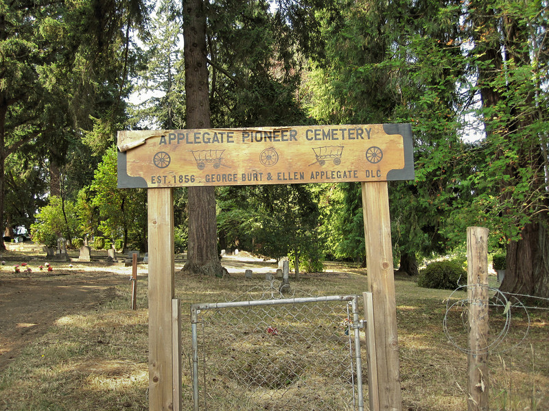 """The cemetery is situated at the top of a hill in Yoncalla, OR.  It is not easy to find.  Only the serendipitous sighting of a couple of small, shabby signs on street corners off the """"main drag"""" enabled us to find it."""