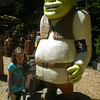 Rylee visiting with Shrek and Donkey in the Redwoods of Northern California.