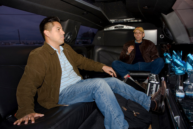 Rene Contreras (l) and Brad Pohlmann (r) share a limo ride with Kevin and I to the resort.
