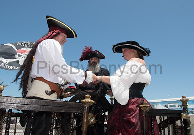 Pirate Wedding aboard Panama Perl Pirate Ship in Flagler Beach during the Pirate Invasion on May 20, 2017