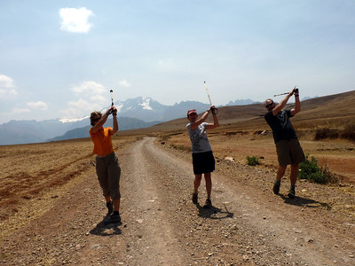 Kristen ,Rick and Becky missed their annual work golf outing, so on the day of the golf game, here they are playing across Peru! :)