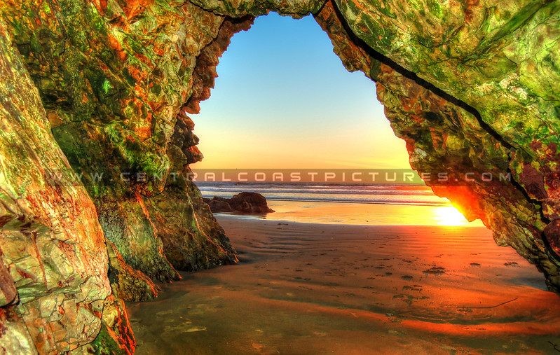 Pismo Beach Cave at Sunset