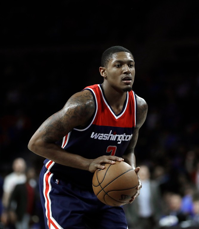 . Washington Wizards guard Bradley Beal prepares to shoot a free throw during second half of an NBA basketball game against the Detroit Pistons, Monday, April 10, 2017, in Auburn Hills, Mich. (AP Photo/Carlos Osorio)