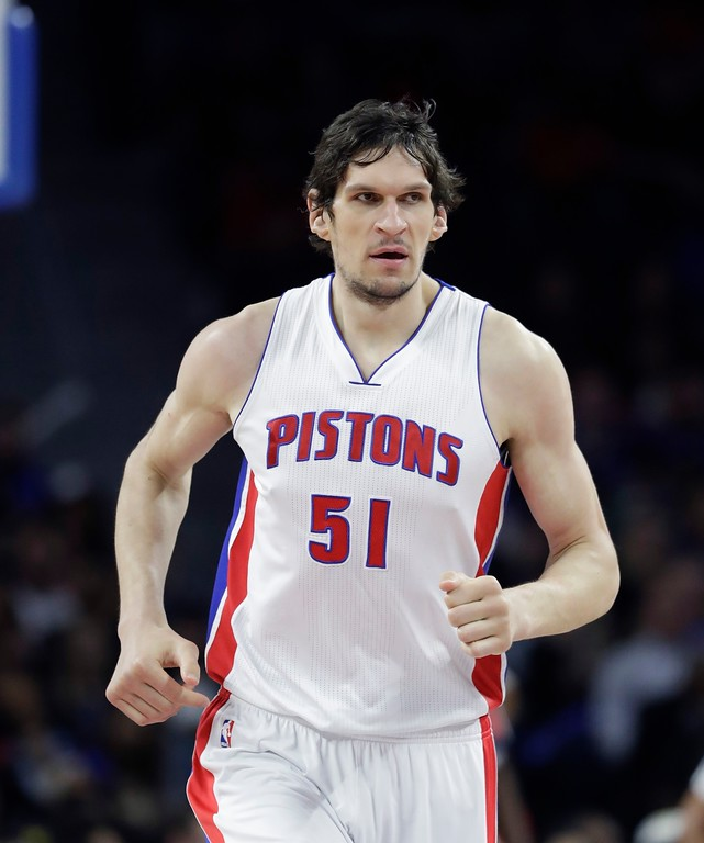 . Detroit Pistons center Boban Marjanovic runs up court during second half of an NBA basketball game against the Washington Wizards, Monday, April 10, 2017, in Auburn Hills, Mich. (AP Photo/Carlos Osorio)