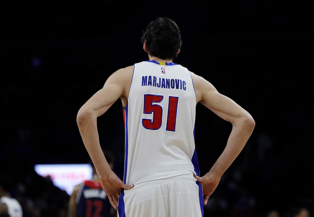 . Detroit Pistons center Boban Marjanovic is seen during the second half of an NBA basketball game against the Washington Wizards, Monday, April 10, 2017, in Auburn Hills, Mich. (AP Photo/Carlos Osorio)