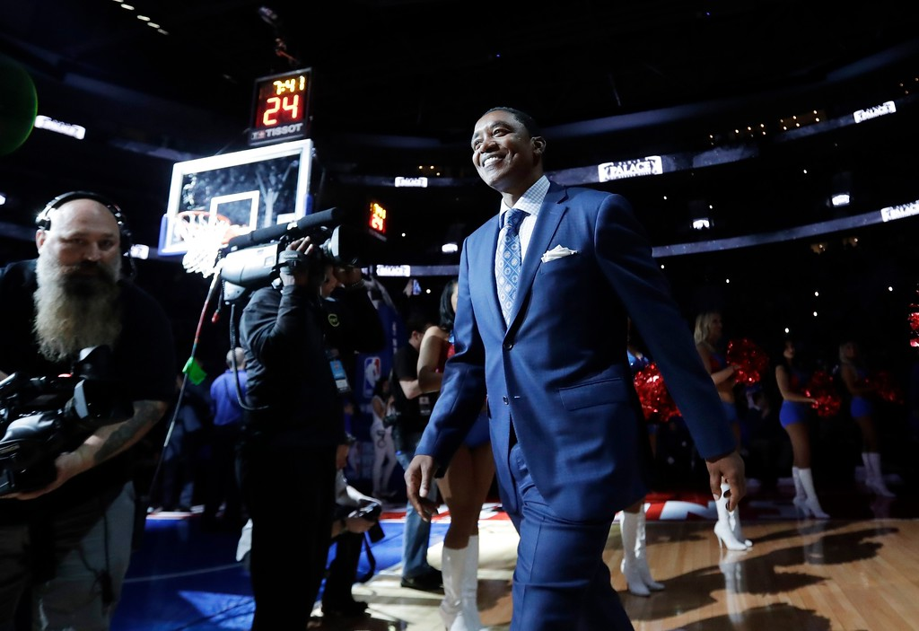. Isiah Thomas, former Detroit Pistons leader of the Bad Boys is introduced during a halftime ceremony of an NBA basketball game, Monday, April 10, 2017, in Auburn Hills, Mich. Former Pistons players attended the last game at the Palace before the team moves to downtown Detroit. (AP Photo/Carlos Osorio)