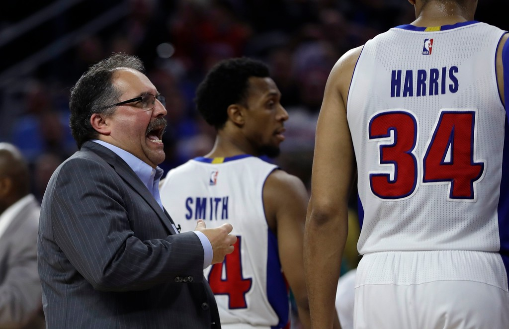 . Detroit Pistons head coach Stan Van Gundy talks to forward Tobias Harris (34) during the second half of an NBA basketball game against the Washington Wizards, Monday, April 10, 2017, in Auburn Hills, Mich. (AP Photo/Carlos Osorio)
