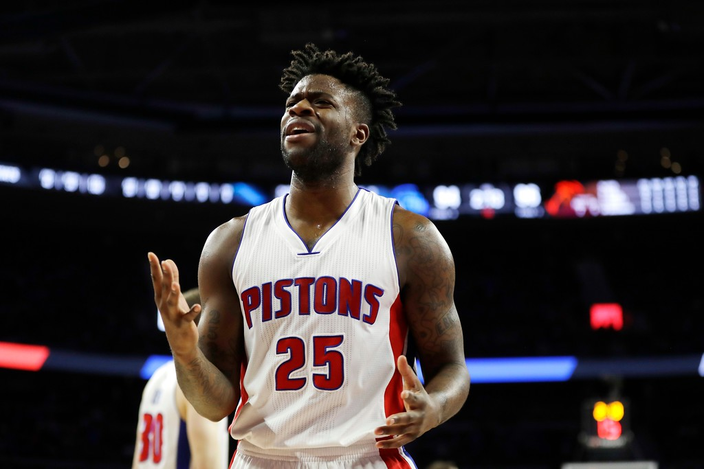 . Detroit Pistons forward Reggie Bullock argues a call during the second half of an NBA basketball game against the Washington Wizards, Monday, April 10, 2017, in Auburn Hills, Mich. (AP Photo/Carlos Osorio)