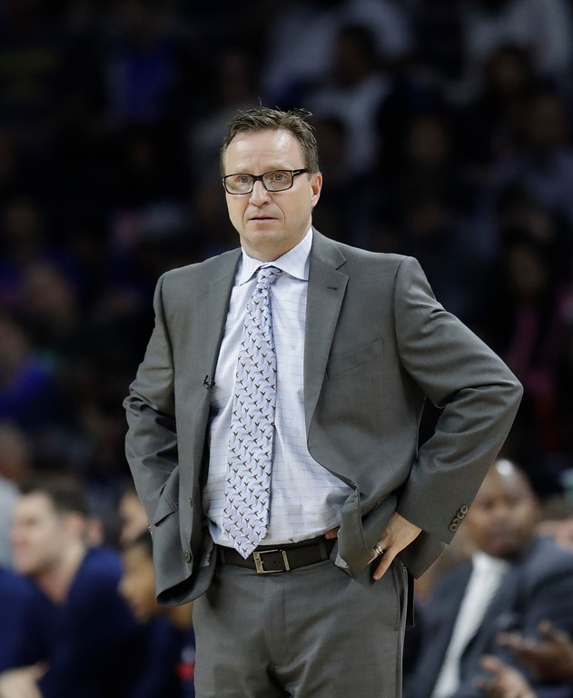 . Washington Wizards head coach Scott Brooks is seen during second half of an NBA basketball game against the Detroit Pistons, Monday, April 10, 2017, in Auburn Hills, Mich. (AP Photo/Carlos Osorio)