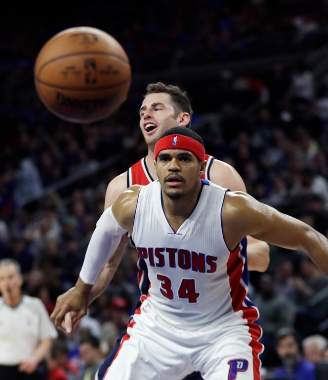 . Detroit Pistons forward Tobias Harris watches a free throw during the second half of an NBA basketball game against the Washington Wizards, Monday, April 10, 2017, in Auburn Hills, Mich. (AP Photo/Carlos Osorio)