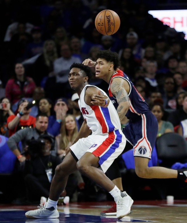 . Detroit Pistons forward Stanley Johnson loses control of the ball during the second half of an NBA basketball game against the Washington Wizards, Monday, April 10, 2017, in Auburn Hills, Mich. (AP Photo/Carlos Osorio)
