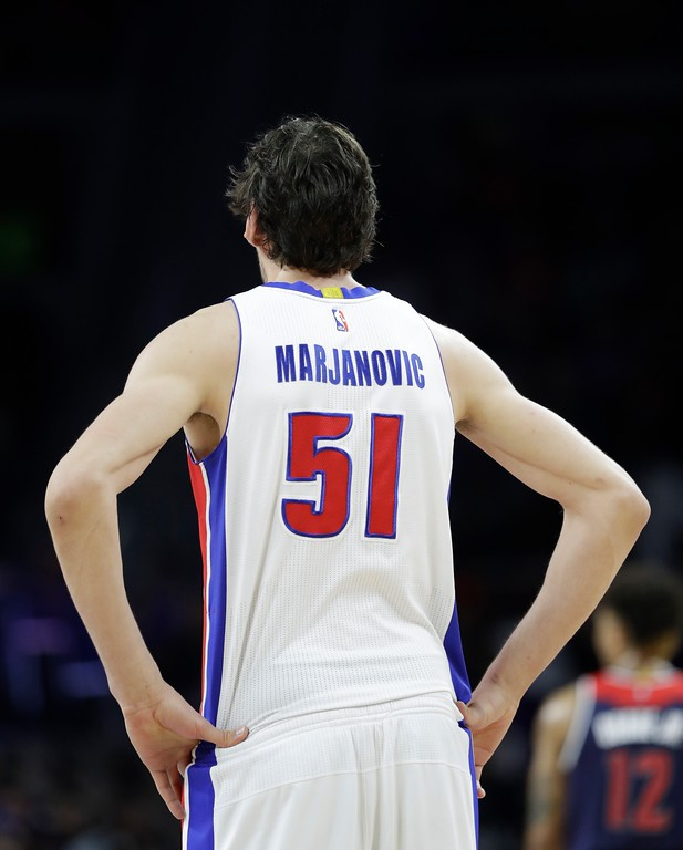 . Detroit Pistons center Boban Marjanovic is seen during second half of an NBA basketball game against the Washington Wizards, Monday, April 10, 2017, in Auburn Hills, Mich. (AP Photo/Carlos Osorio)