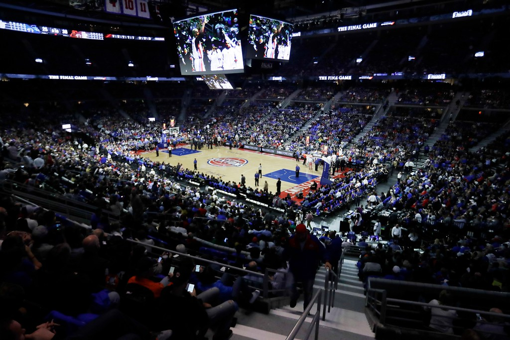 . Basketball fans watch the last Detroit Pistons basketball game at the Palace during the first half of an NBA basketball game against the Washington Wizards, Monday, April 10, 2017, in Auburn Hills, Mich. (AP Photo/Carlos Osorio)
