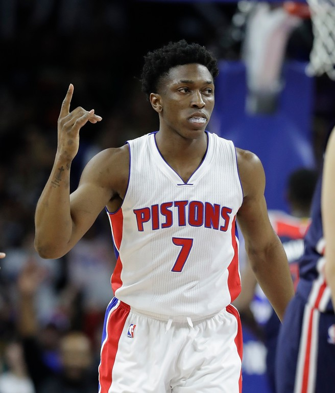 . Detroit Pistons forward Stanley Johnson gestures after a three point basket during second half of an NBA basketball game against the Washington Wizards, Monday, April 10, 2017, in Auburn Hills, Mich. (AP Photo/Carlos Osorio)