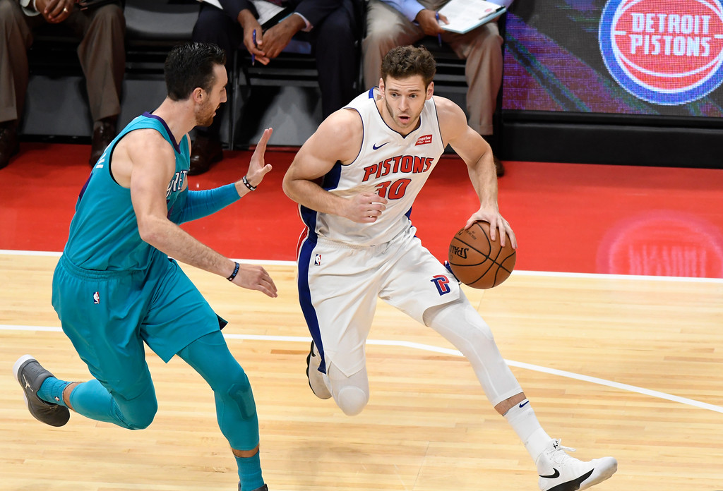 . Detroit Pistons forward Jon Leuer (30) dribbles against the Charlotte Hornets in the first quarter, Wednesday, Oct. 18, 2017 in Detroit.  (Special to The Oakland Press/Jose Juarez)