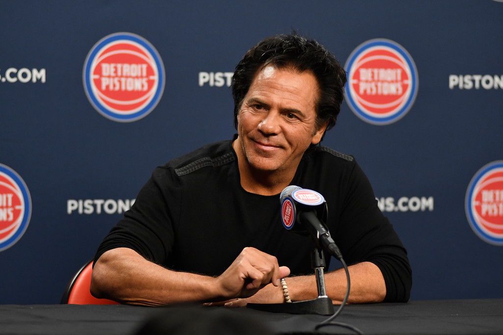 . Detroit Pistons team owner Tom Gores addresses the media at Little Caesars Arena before a game with the Charlotte Hornets, Wednesday, Oct. 18, 2017 in Detroit.  (Special to The Oakland Press/Jose Juarez)