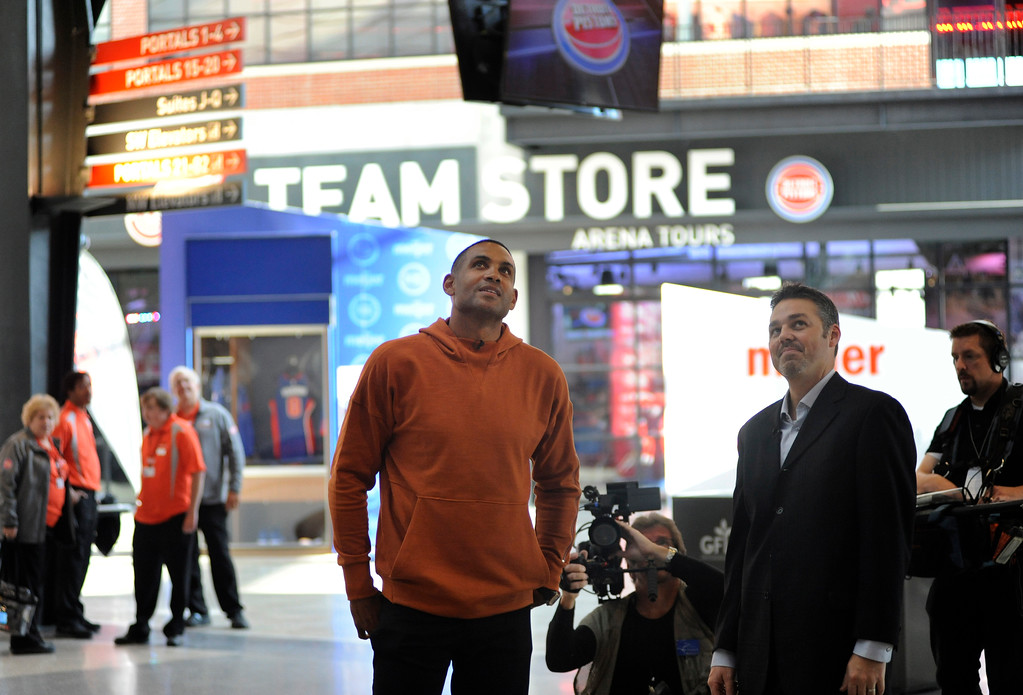 . Former Detroit Pistons player Grant Hill, left, is given a tour of Little Caesars Arena.  Photo taken on Wednesday, Oct. 18, 2017 in Detroit.  (Special to The Oakland Press/Jose Juarez)