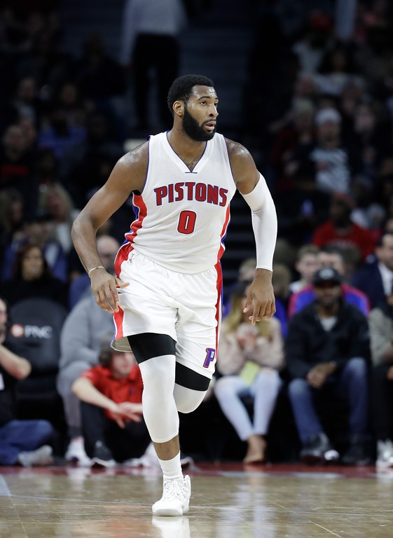 . Detroit Pistons center Andre Drummond runs up court during the second half of an NBA basketball game against the Philadelphia 76ers, Monday, Feb. 6, 2017, in Auburn Hills, Mich. (AP Photo/Carlos Osorio)