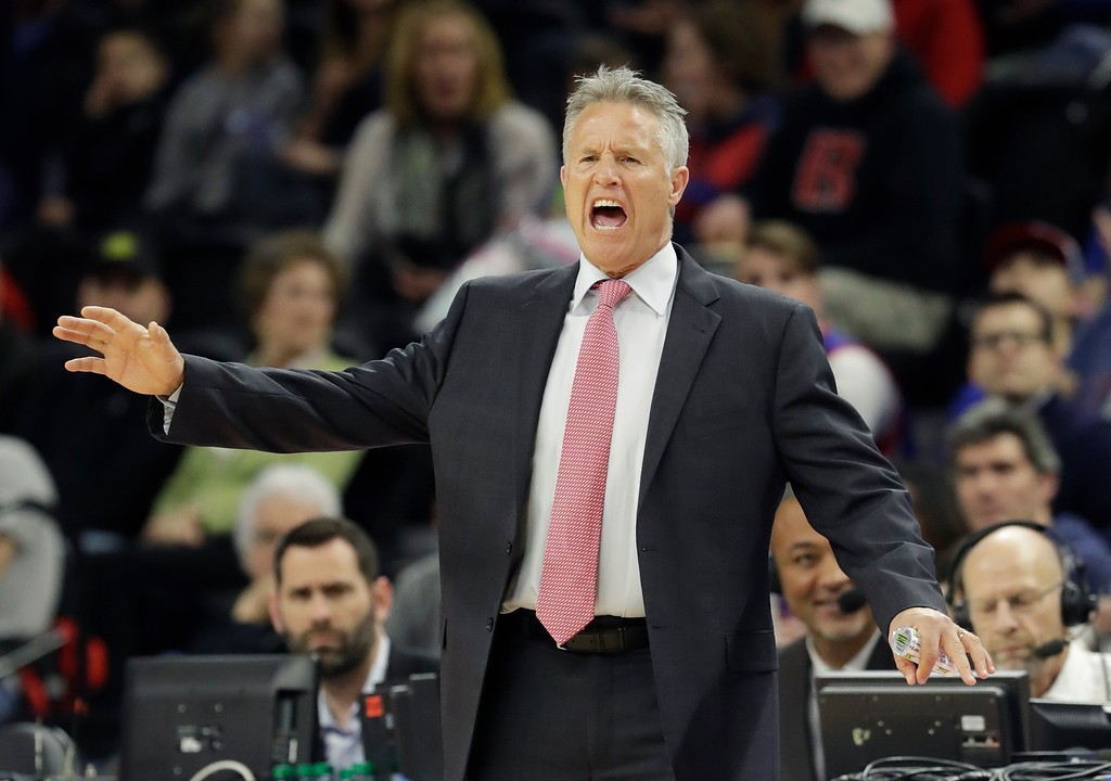 . Philadelphia 76ers head coach Brett Brown reacts on the sidelines during the first half of an NBA basketball game against the Detroit Pistons, Monday, Feb. 6, 2017, in Auburn Hills, Mich. (AP Photo/Carlos Osorio)