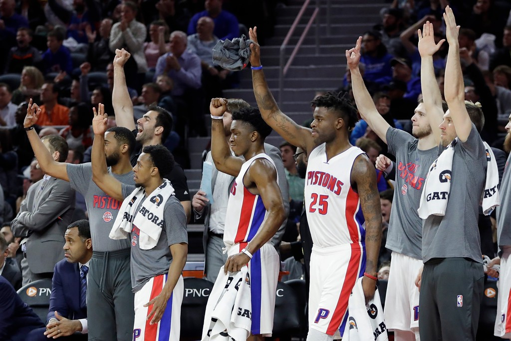 . The Detroit Pistons bench reacts after a teammate\'s basket during the closing minutes of the second half of an NBA basketball game against the Cleveland Cavaliers, Thursday, March 9, 2017, in Auburn Hills, Mich. The Pistons defeated the Cavaliers 106-101. (AP Photo/Carlos Osorio)