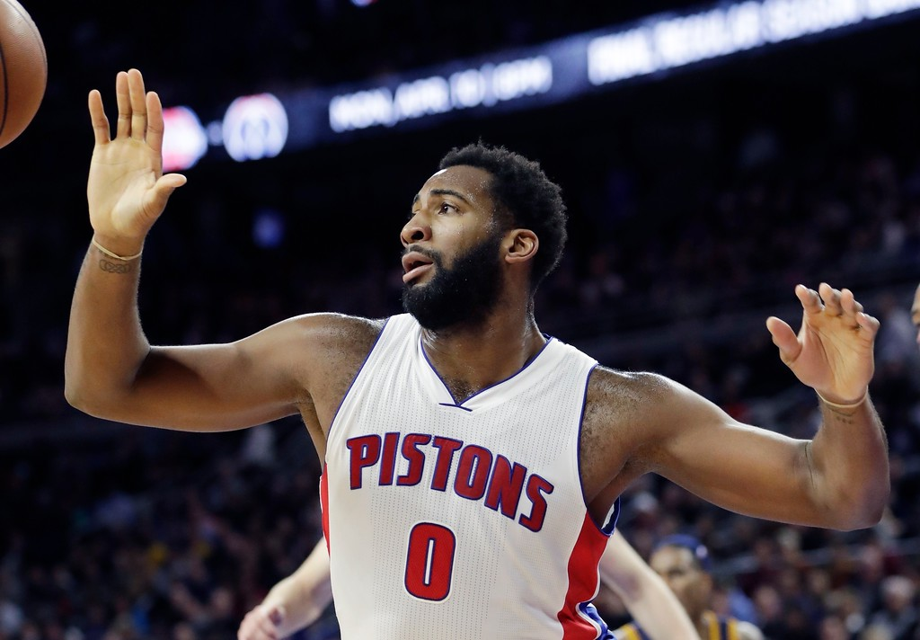 . Detroit Pistons center Andre Drummond reaches for a rebound during the first half of an NBA basketball game against the Cleveland Cavaliers, Thursday, March 9, 2017, in Auburn Hills, Mich. (AP Photo/Carlos Osorio)