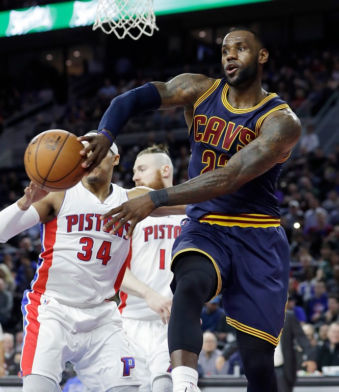 . Cleveland Cavaliers forward LeBron James passes the ball during the second half of the team\'s NBA basketball game against the Detroit Pistons, Thursday, March 9, 2017, in Auburn Hills, Mich. (AP Photo/Carlos Osorio)