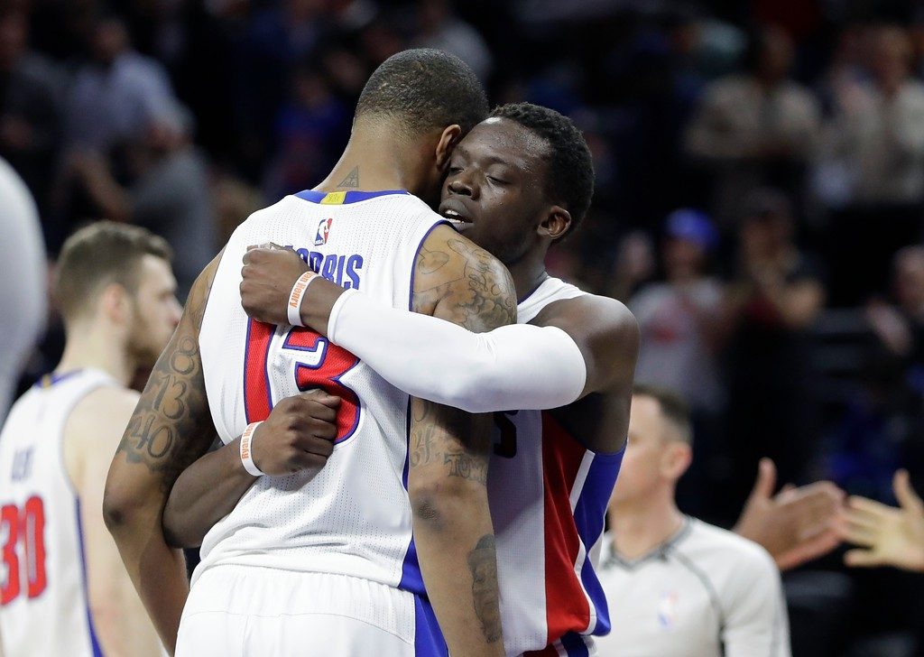 . Detroit Pistons guard Reggie Jackson, right, hugs teammate Marcus Morris (13) after Detroit\'s 106-101 win over the Cleveland Cavaliers in an NBA basketball game, Thursday, March 9, 2017, in Auburn Hills, Mich. (AP Photo/Carlos Osorio)