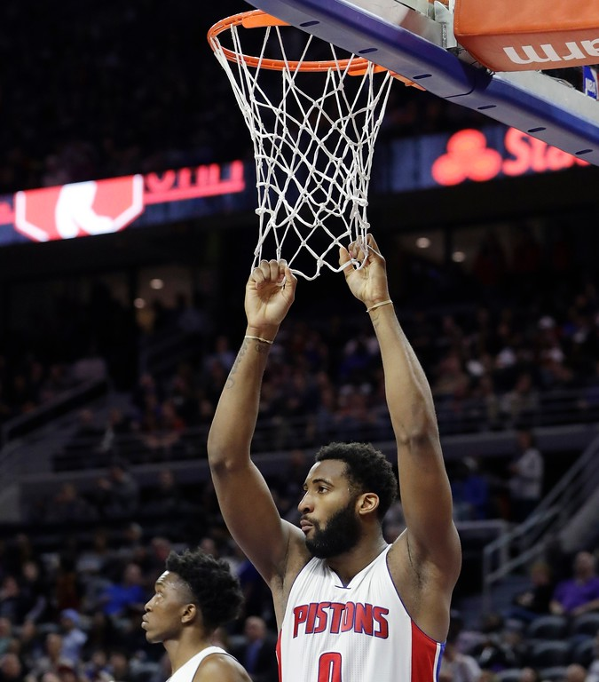 . Detroit Pistons center Andre Drummond waits under the basket during the second half of an NBA basketball game against the Cleveland Cavaliers, Thursday, March 9, 2017, in Auburn Hills, Mich. (AP Photo/Carlos Osorio)