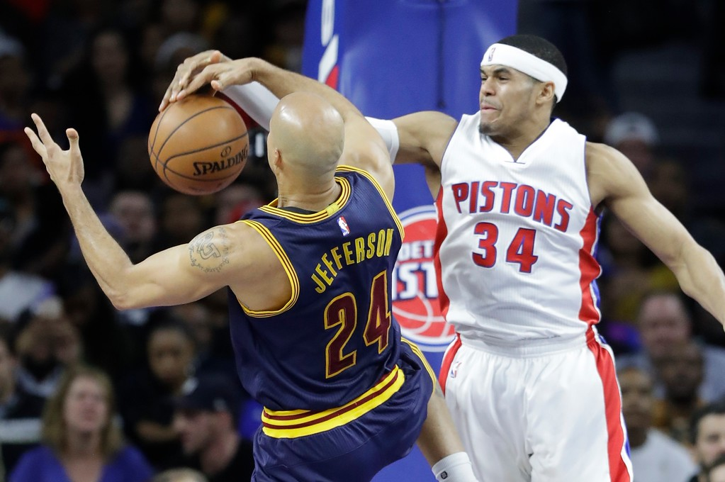 . Detroit Pistons forward Tobias Harris (34) knocks the ball away from Cleveland Cavaliers forward Richard Jefferson (24) during the first half of an NBA basketball game, Thursday, March 9, 2017, in Auburn Hills, Mich. (AP Photo/Carlos Osorio)