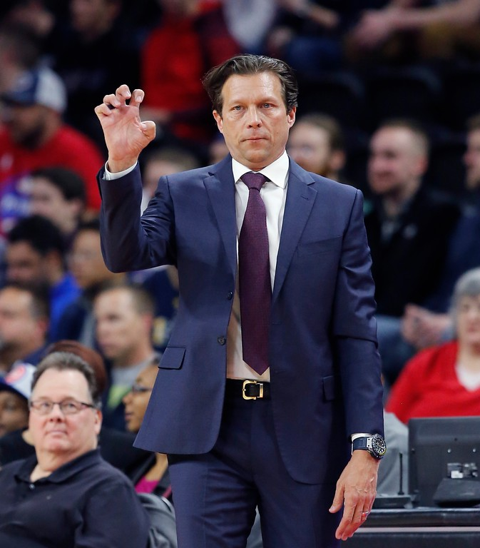 . Utah Jazz head coach Quin Snyder signals from the sidelines during the first half of an NBA basketball game against the Detroit Pistons, Wednesday, March 15, 2017, in Auburn Hills, Mich. (AP Photo/Carlos Osorio)