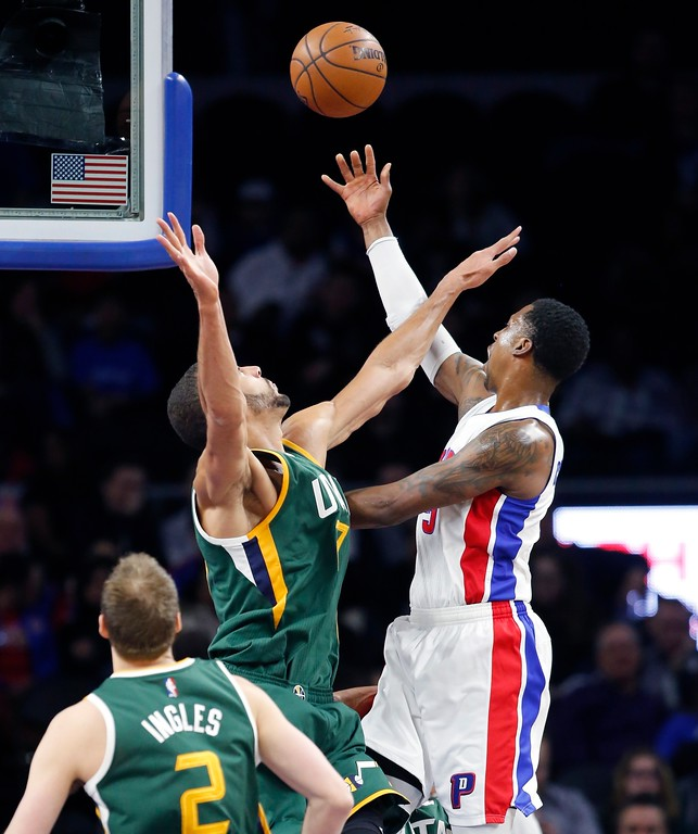 . Detroit Pistons guard Kentavious Caldwell-Pope shoots over Utah Jazz center Rudy Gobert during the first half of an NBA basketball game, Wednesday, March 15, 2017, in Auburn Hills, Mich. (AP Photo/Carlos Osorio)