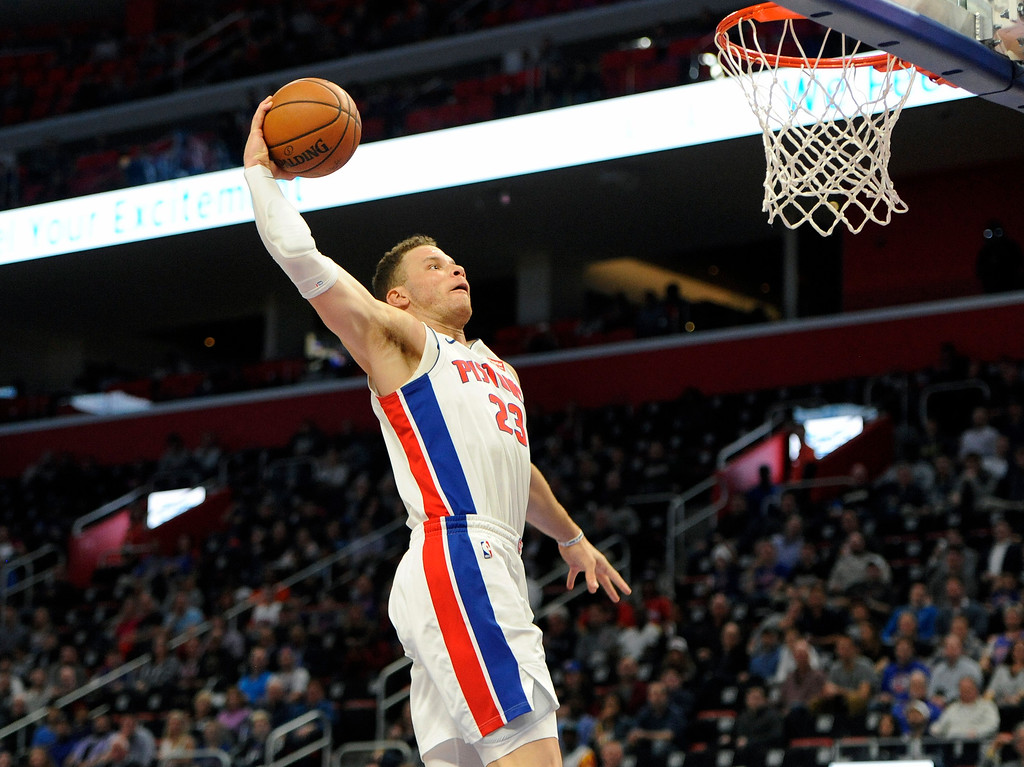 . Detroit Pistons forward Blake Griffin (23) dunks against the Milwaukee Bucks in the second half of an NBA basketball game, Wednesday, Feb. 28, 2018 at Little Caesars Arena in Detroit.  The Pistons defeated the Bucks, 110-87.  (Special to The Oakland Press/Jose Juarez)