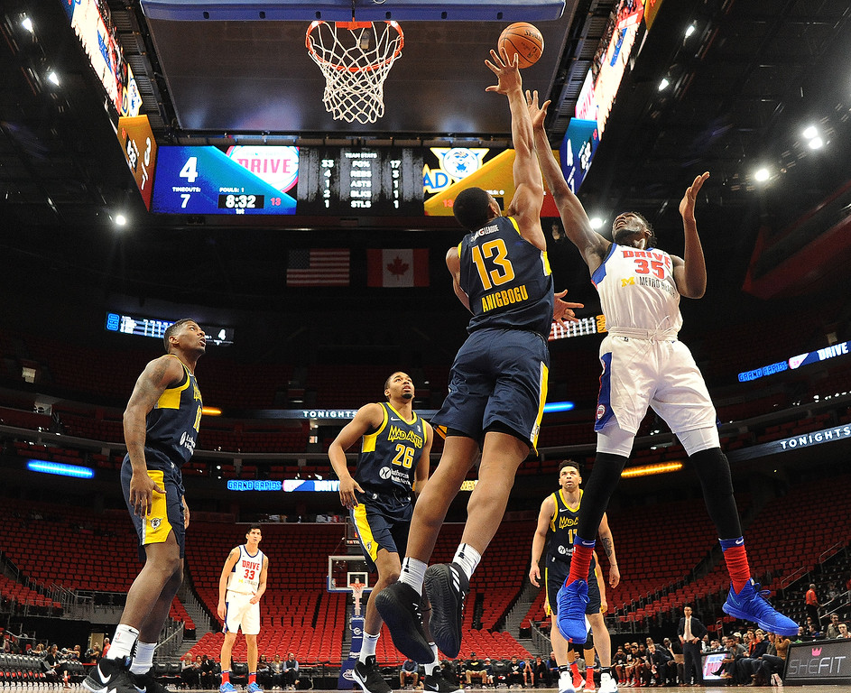 . Grand Rapids Drive center Landry Nnoko (35) puts up a shot against the Fort Wayne Mad Ants, the D-League affiliate for the Indiana Pacers, Wednesday, Feb. 28, 2018 in Detroit.  The Mad Ants defeated the Drive, 115-104.  (Special to The Oakland Press/Jose Juarez)