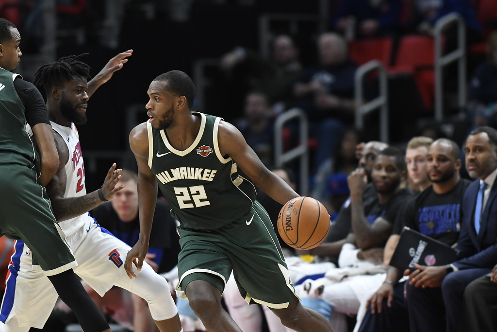 . Milwaukee Bucks forward Khris Middleton (22) drives to the basket against the Detroit Pistons in the third quarter of an NBA basketball game, Wednesday, Feb. 28, 2018 at Little Caesars Arena in Detroit.  The Pistons defeated the Bucks, 110-87.  Middleton is a former Piston.  (Special to The Oakland Press/Jose Juarez)