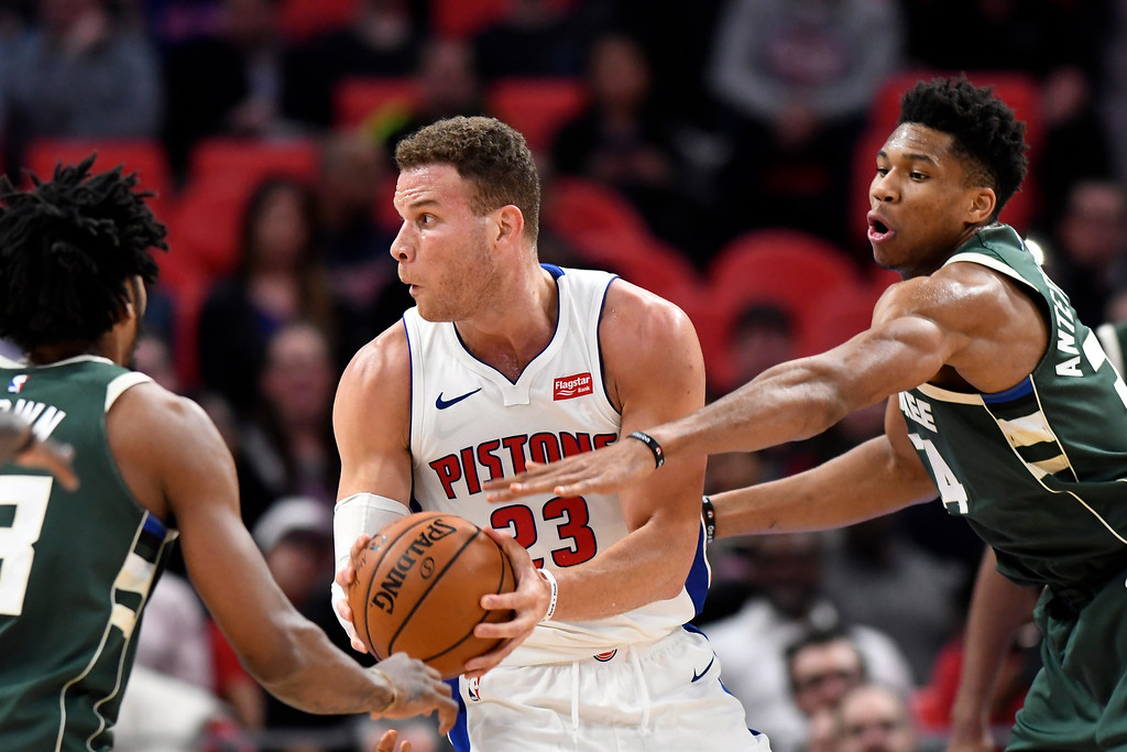 . The Detroit Pistons play against the Milwaukee Bucks in the first quarter of an NBA basketball game, Wednesday, Feb. 28, 2018 at Little Caesars Arena in Detroit.  (Special to The Oakland Press/Jose Juarez)