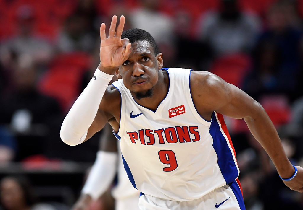 . Detroit Pistons guard Langston Galloway (9) reacts after making a three-point basket against the Milwaukee Bucks in the second half of an NBA basketball game, Wednesday, Feb. 28, 2018 at Little Caesars Arena in Detroit.  The Pistons defeated the Bucks, 110-87.  (Special to The Oakland Press/Jose Juarez)