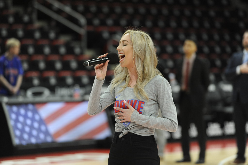 . Monica Notaro, a Detroit area singer and song writer, performs the national anthem before the start of the game between the Grand Rapids Drive, which is the D-League affiliate for the Detroit Pistons, and the Fort Wayne Mad Ants, the D-League affiliate for the Indiana Pacers, Wednesday, Feb. 28, 2018 in Detroit.  The Mad Ants defeated the Drive, 115-104.  (Special to The Oakland Press/Jose Juarez)