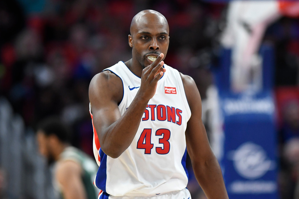 . Detroit Pistons forward Anthony Tolliver (43) reacts after making a three-point basket against the Milwaukee Bucks in the first quarter of an NBA basketball game, Wednesday, Feb. 28, 2018 at Little Caesars Arena in Detroit.  (Special to The Oakland Press/Jose Juarez)