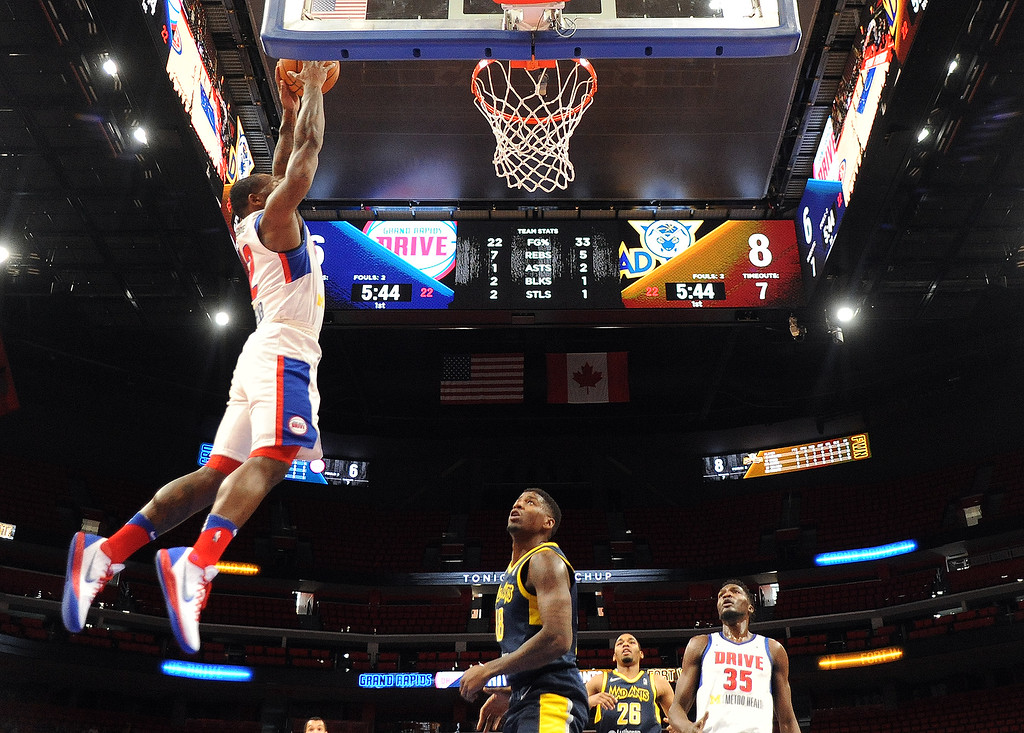 . Grand Rapids Drive guard Kay Felder (2) goes up for a dunk against the Fort Wayne Mad Ants, the D-League affiliate for the Indiana Pacers, Wednesday, Feb. 28, 2018 in Detroit.  The Mad Ants defeated the Drive, 115-104.  (Special to The Oakland Press/Jose Juarez)