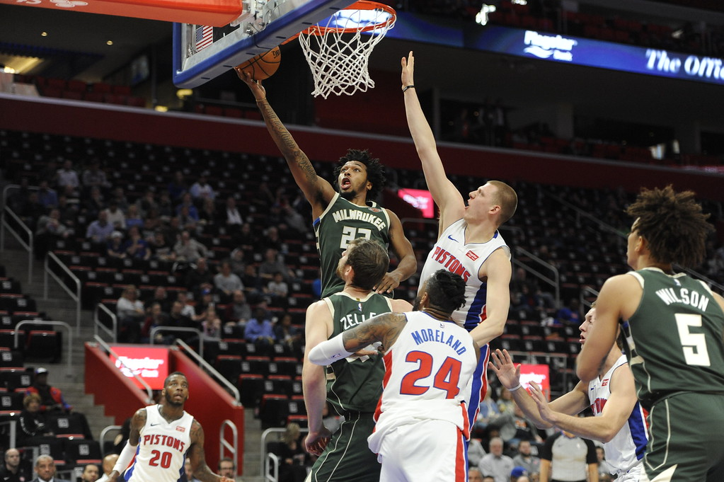 . The Detroit Pistons play against the Milwaukee Bucks in the second half of an NBA basketball game, Wednesday, Feb. 28, 2018 at Little Caesars Arena in Detroit.  The Pistons defeated the Bucks, 110-87.  (Special to The Oakland Press/Jose Juarez)